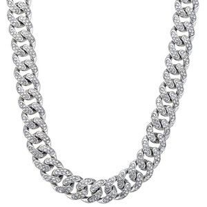 18k White Gold Iced Out Miami Cuban Necklace 12mm